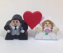 Bride and Groom Mega Meeples Wedding Favor Sets (19mm) - with red heart!