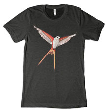 Scissor-Tailed Flycatcher Wingspan Tee [Charcoal/Black Unisex Tri-Blend]