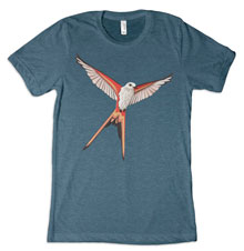 Scissor-Tailed Flycatcher Wingspan Tee [Steel Blue Unisex Tri-Blend]