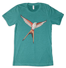 Scissor-Tailed Flycatcher Wingspan Tee [Teal Unisex Tri-Blend]